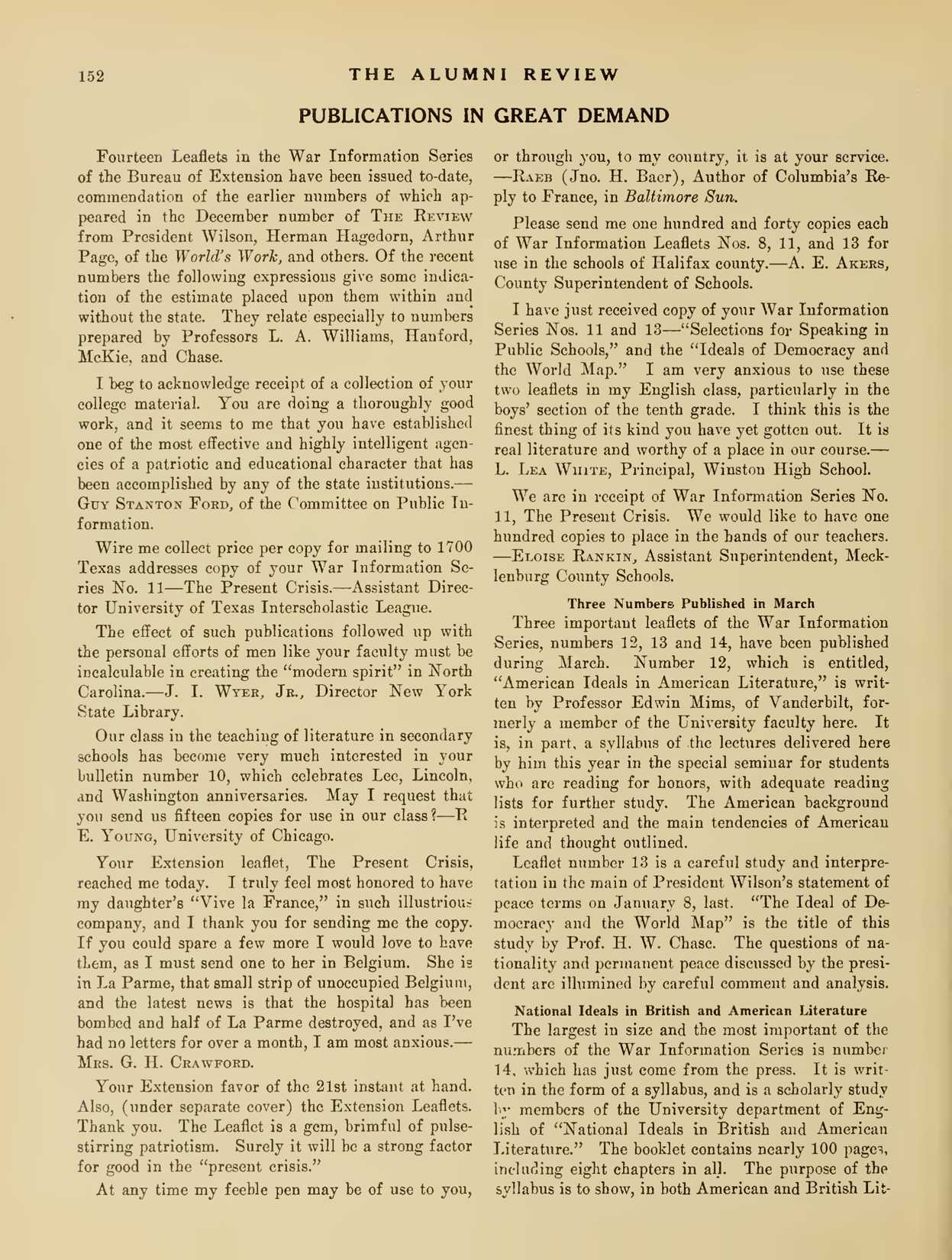 Carolina Alumni Review - March 1918 - page 152