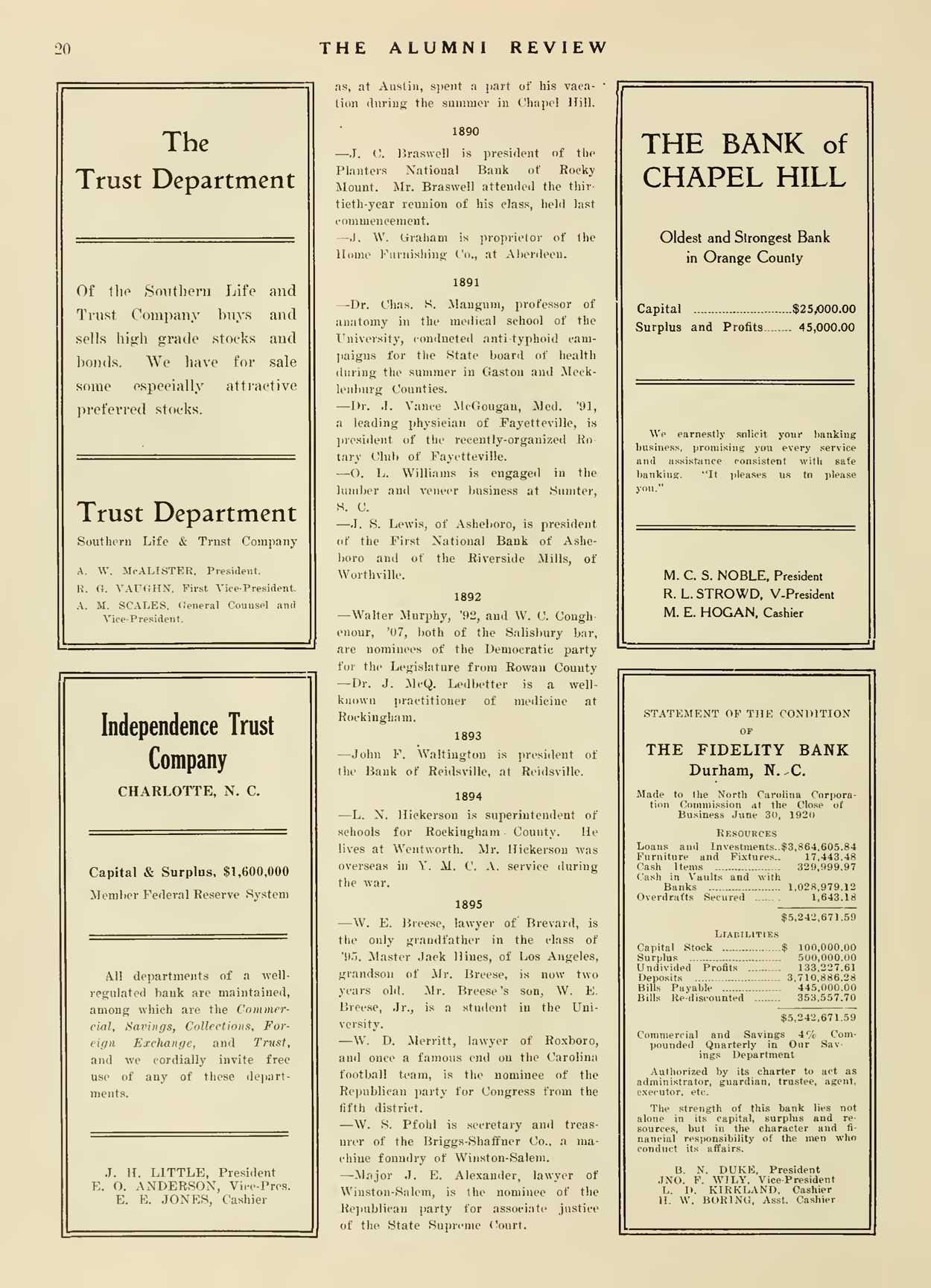 Carolina Alumni Review - October 1920 - page 19