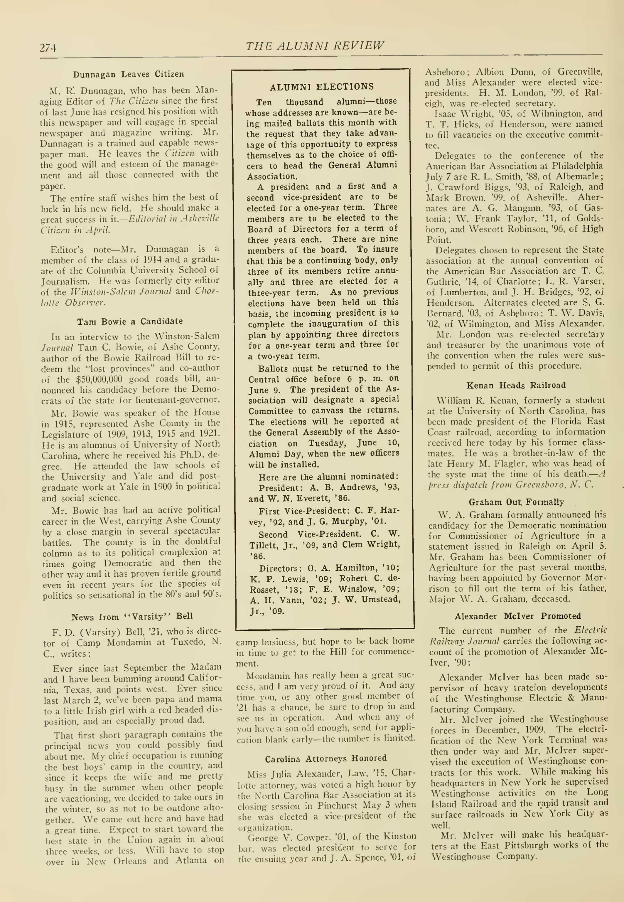 Carolina Alumni Review - May 1924 - page 275