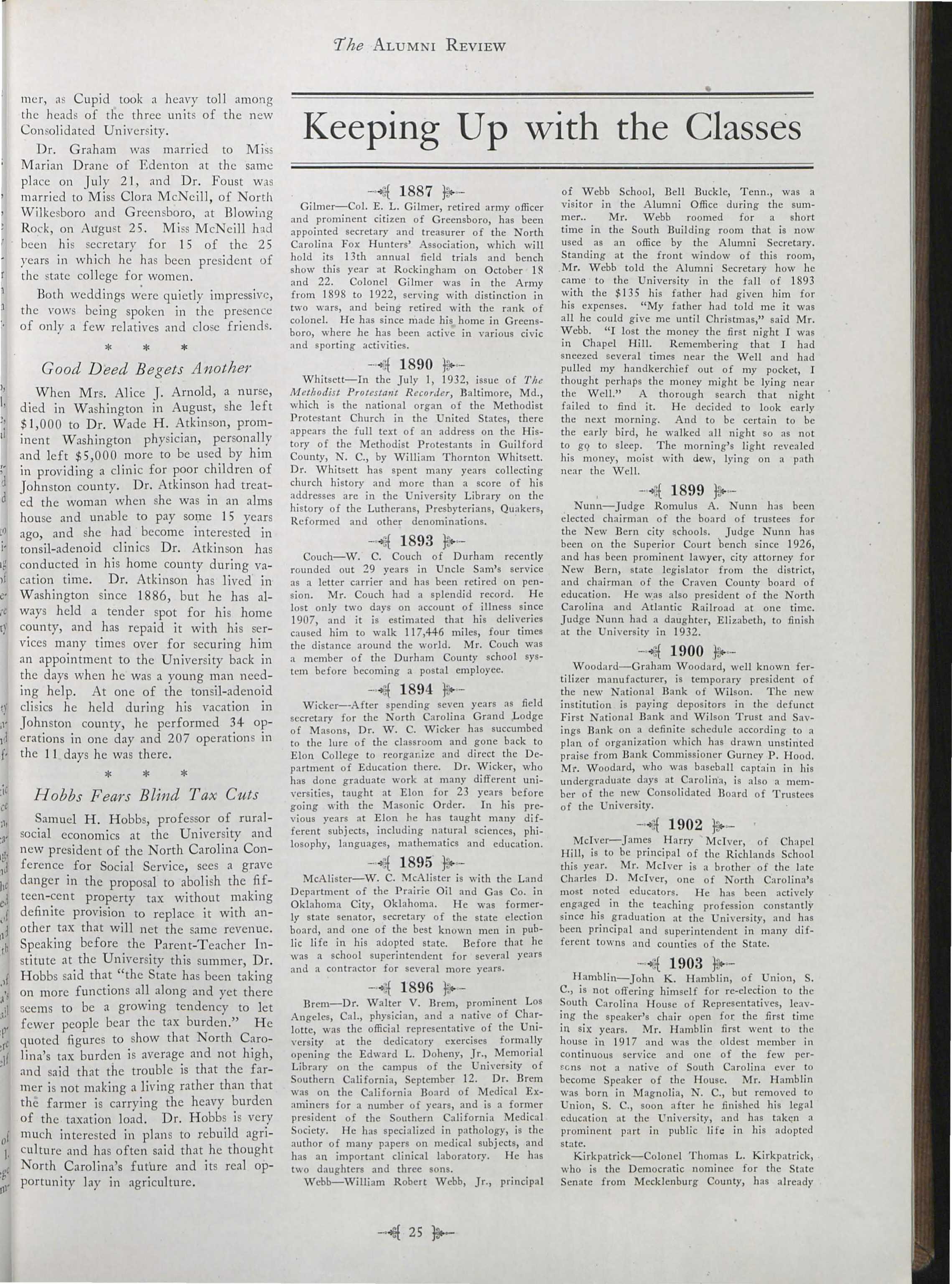 Carolina Alumni Review - October 1932 - page 25