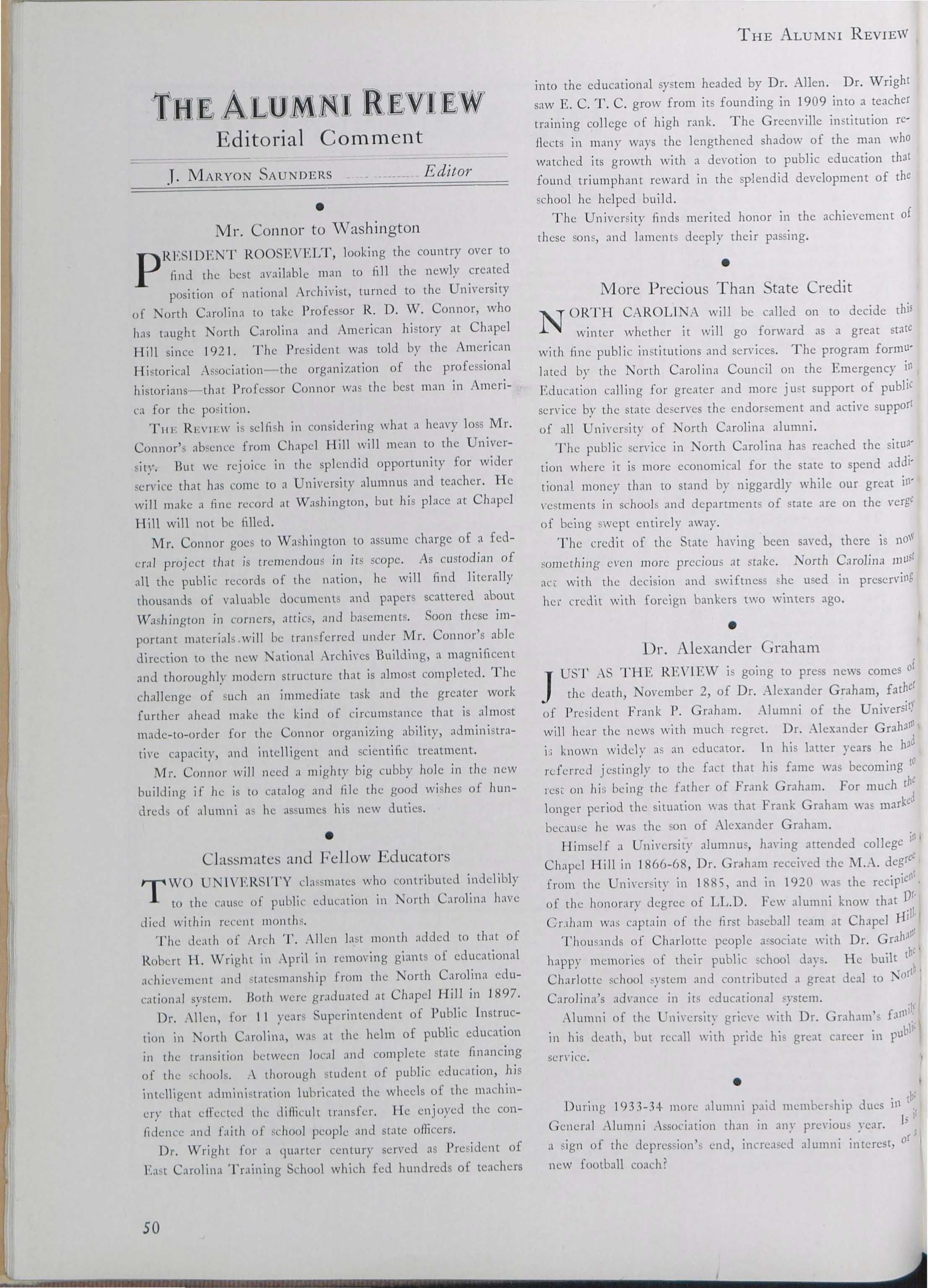 Carolina Alumni Review - November 1934 - page 51