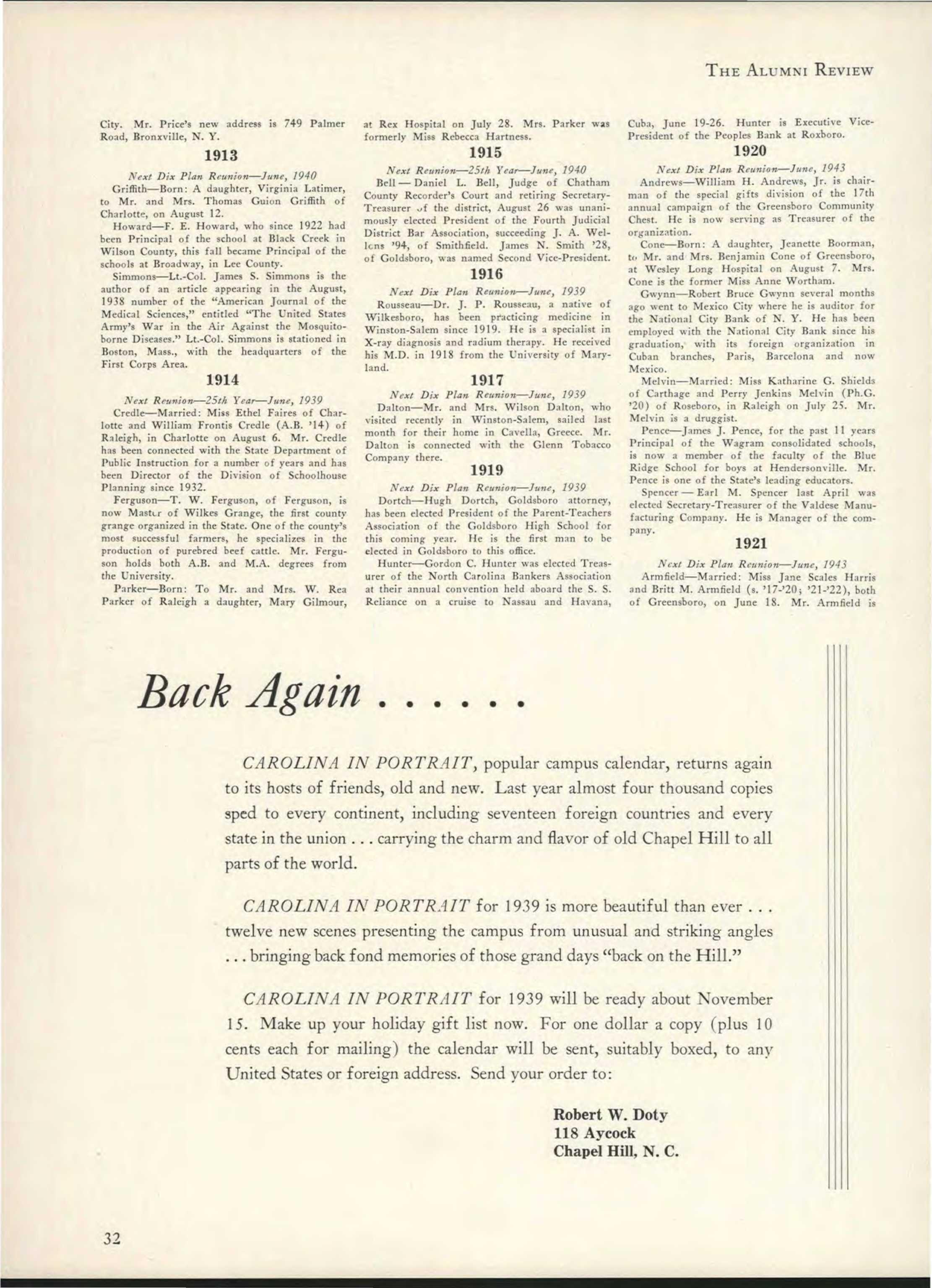 Carolina Alumni Review - October 1938 - page 33