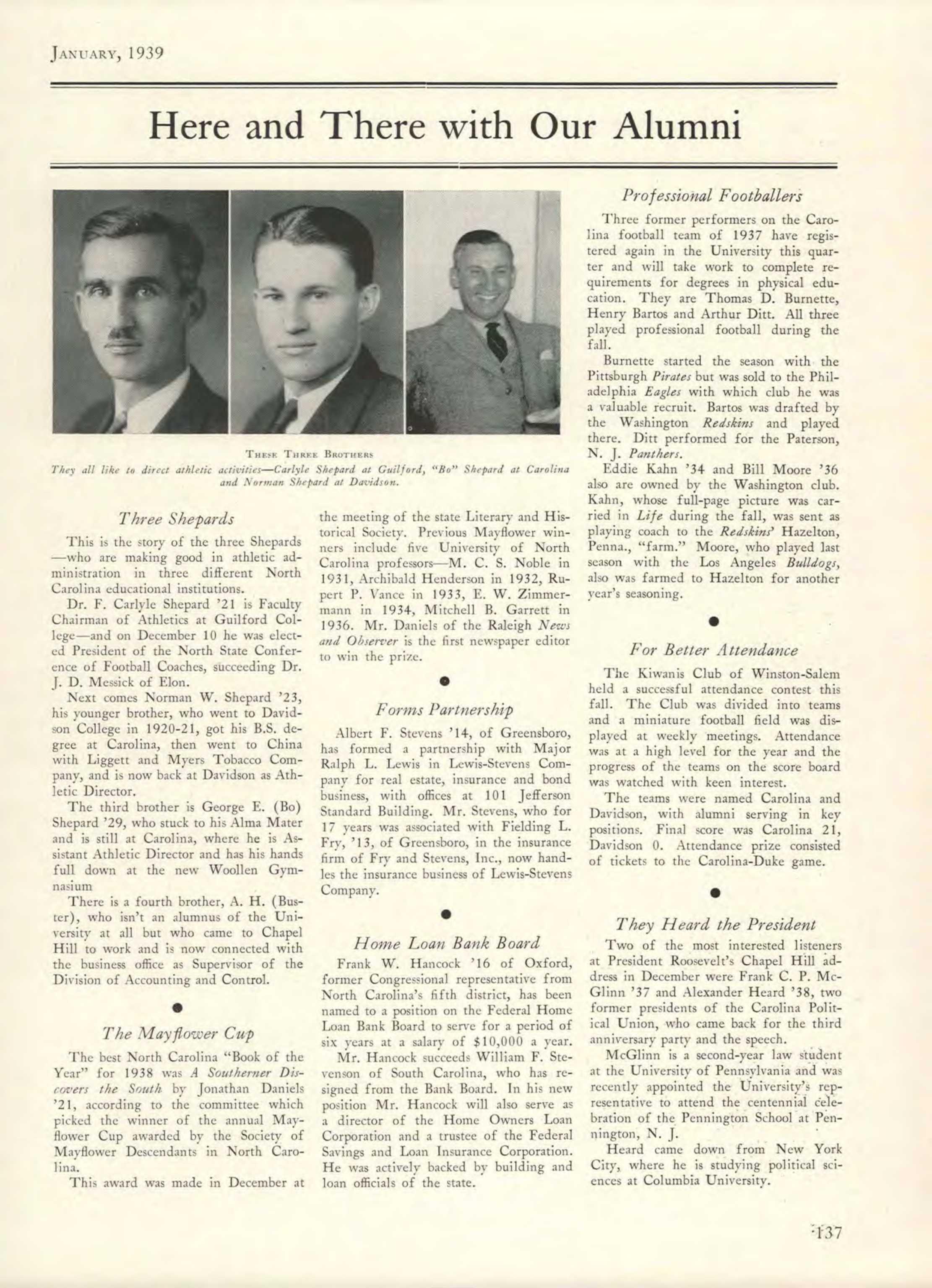 Carolina Alumni Review - January 1939 - page 136