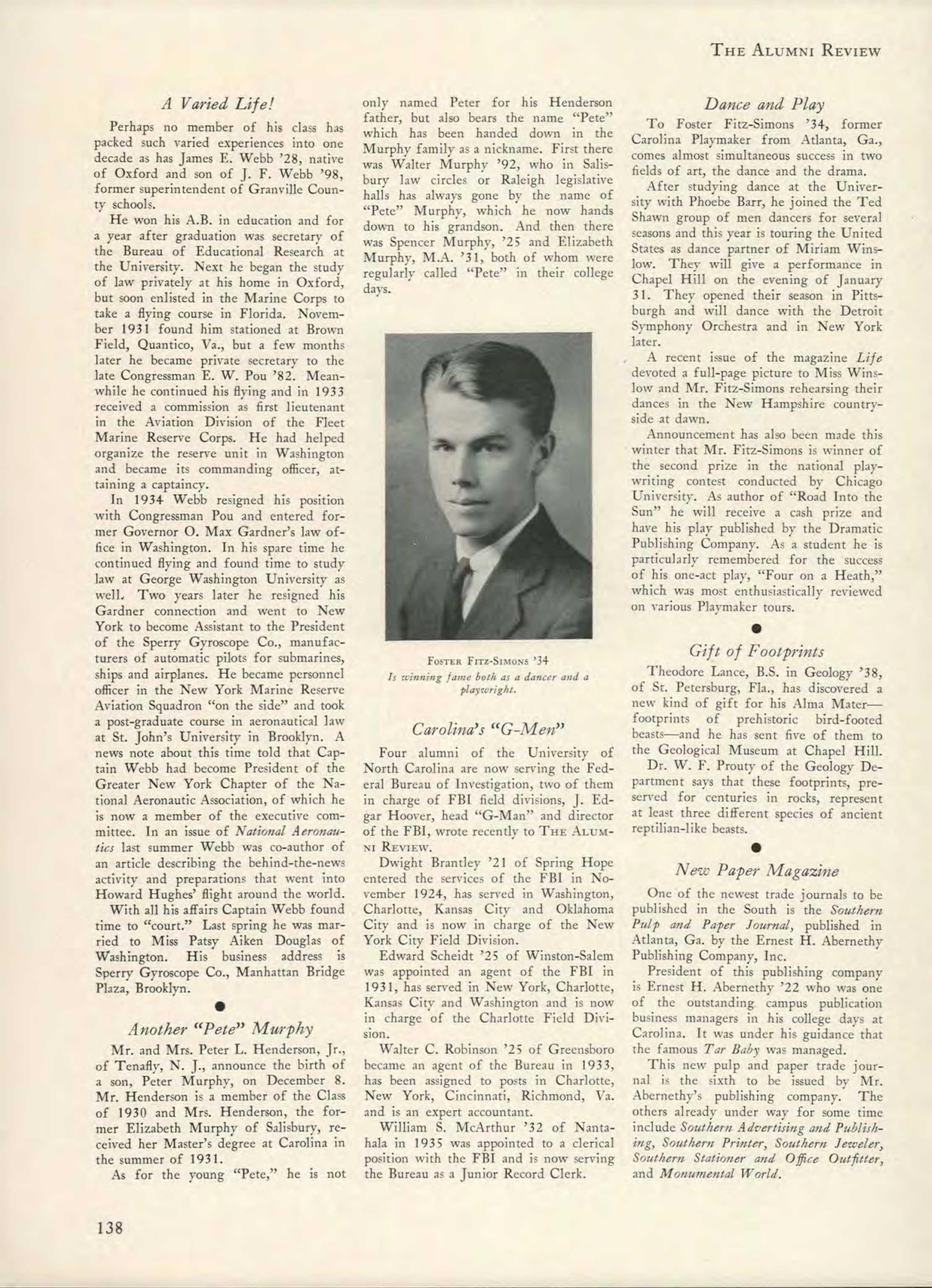Carolina Alumni Review - January 1939 - page 137