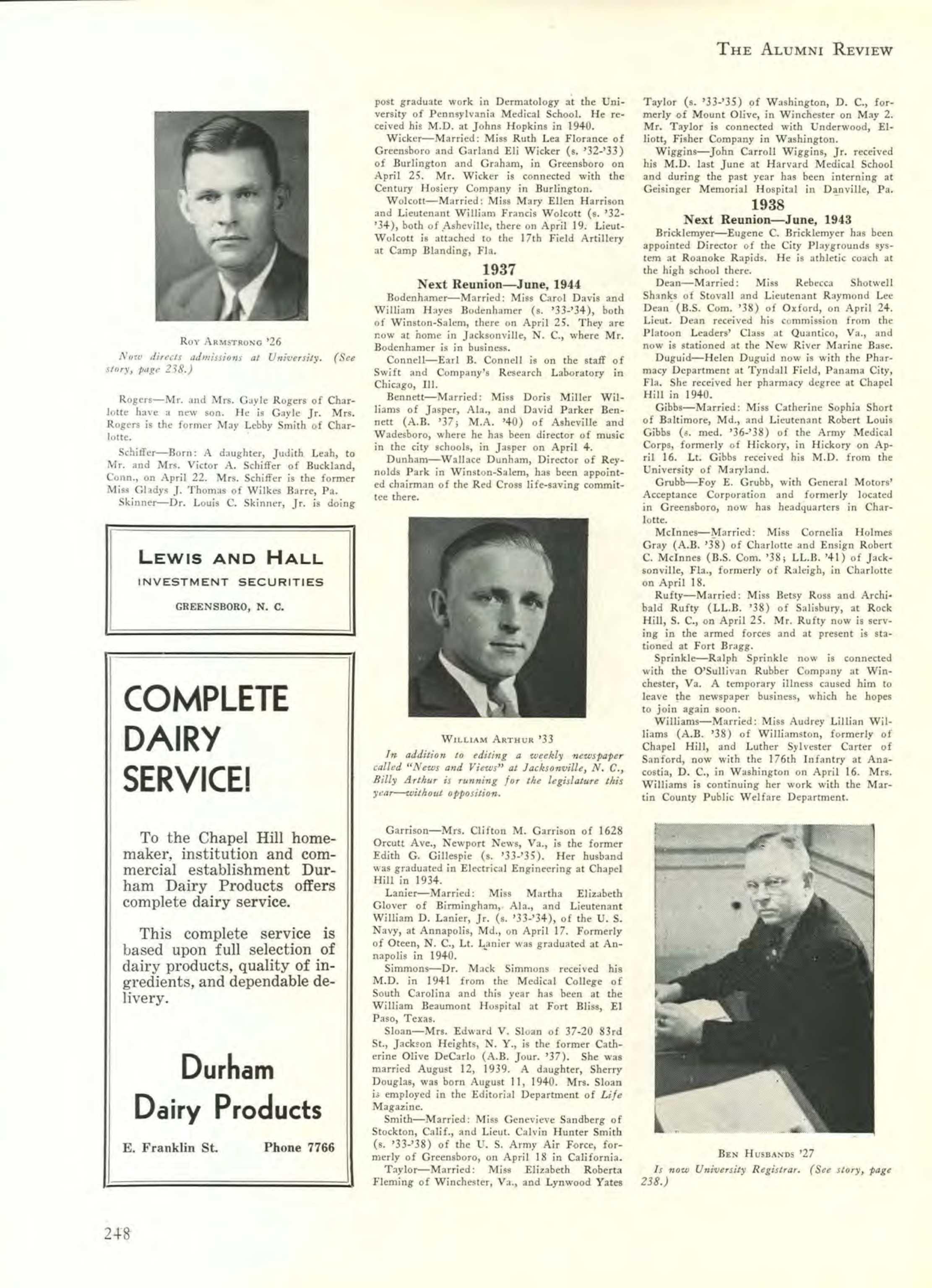 Carolina Alumni Review - May 1942 - page 249