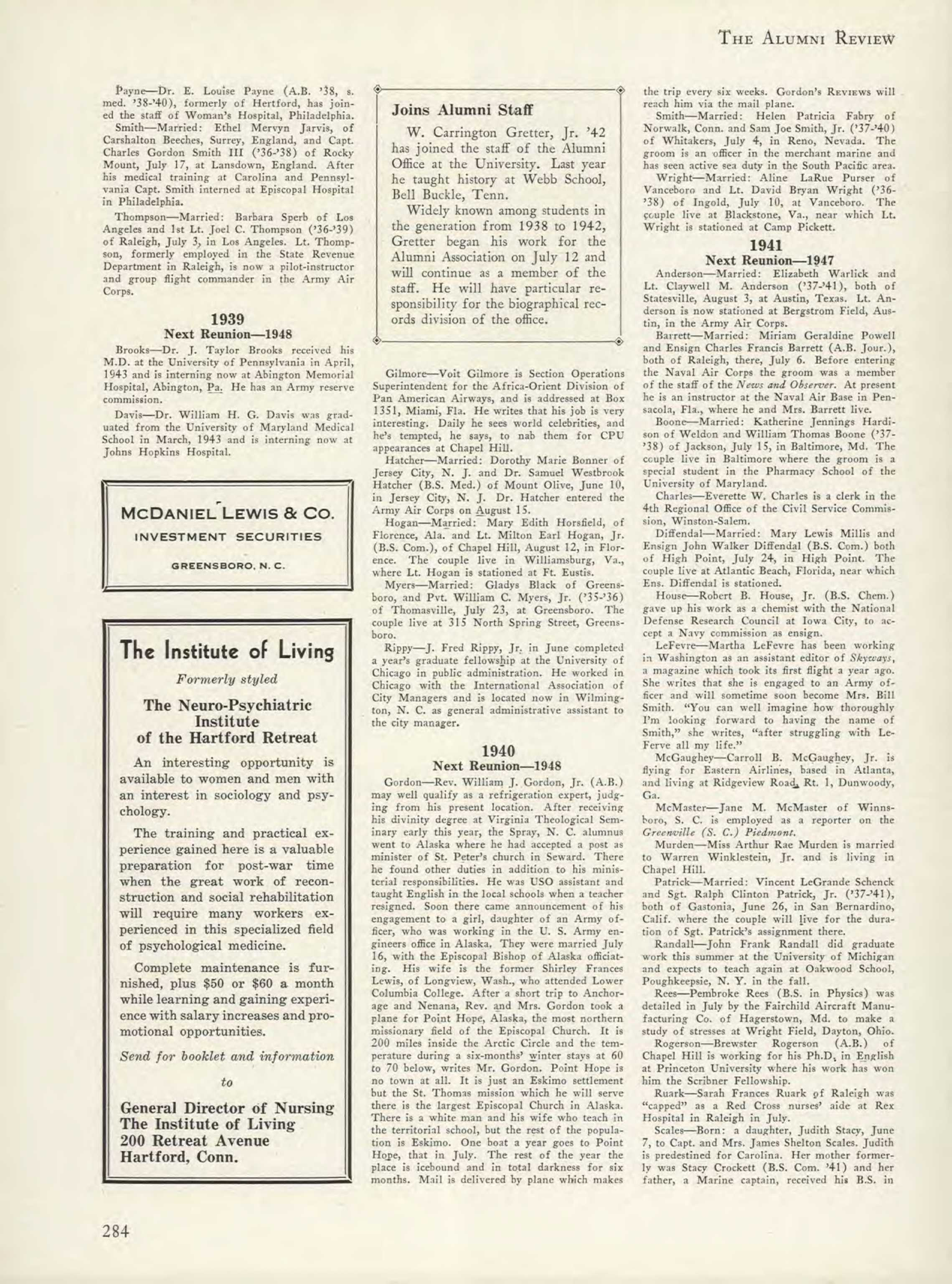 Carolina Alumni Review - Summer 1943 - page 284