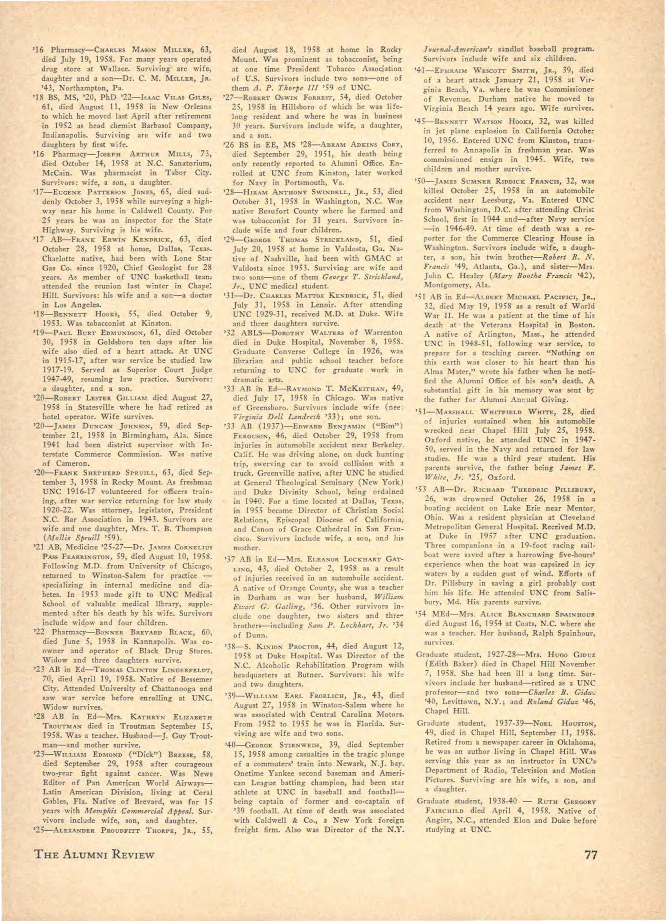 Carolina Alumni Review - Fall 1958 - page 78