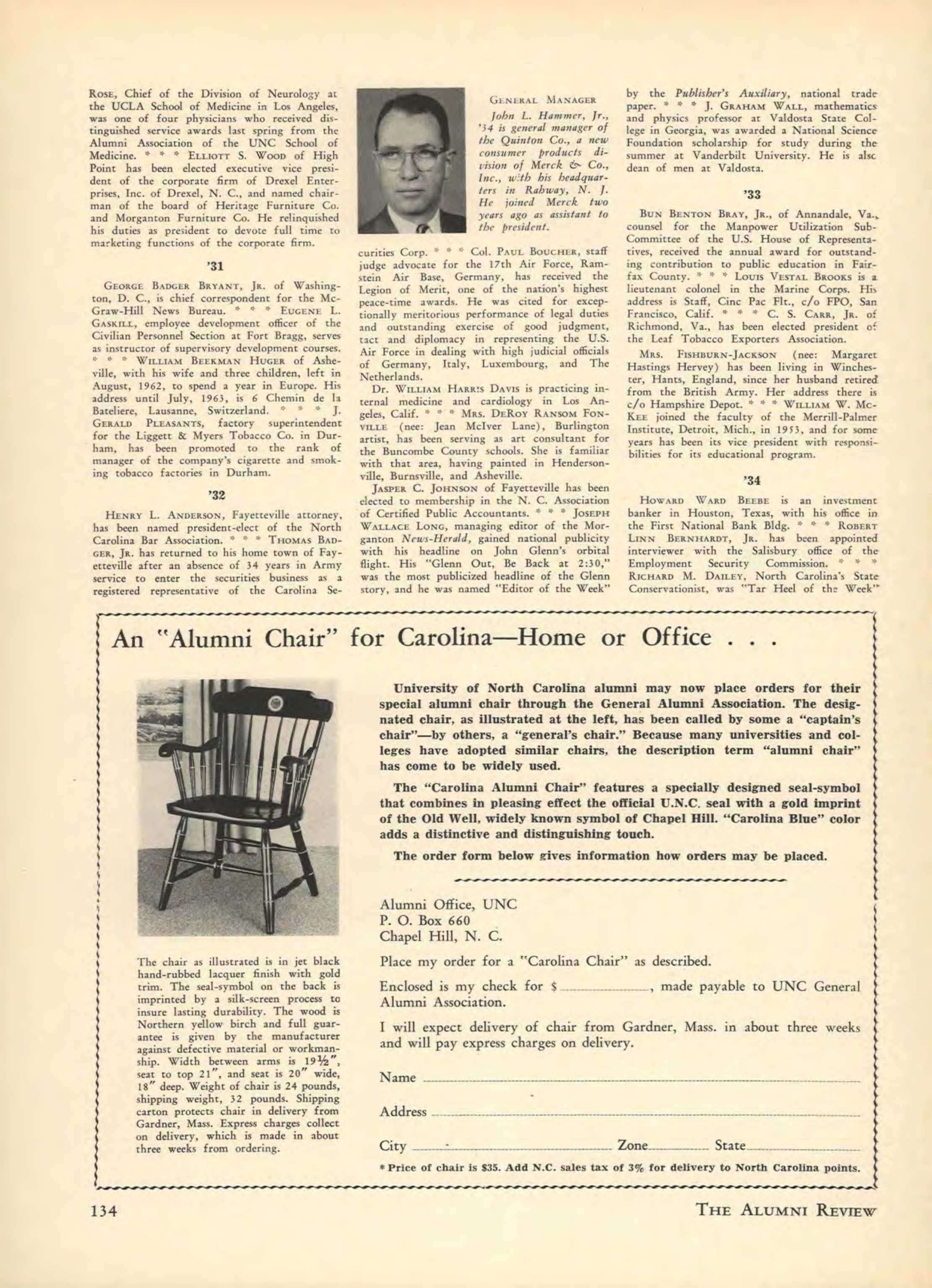 Awe Inspiring Carolina Alumni Review Summer 1962 Page 134 Gmtry Best Dining Table And Chair Ideas Images Gmtryco