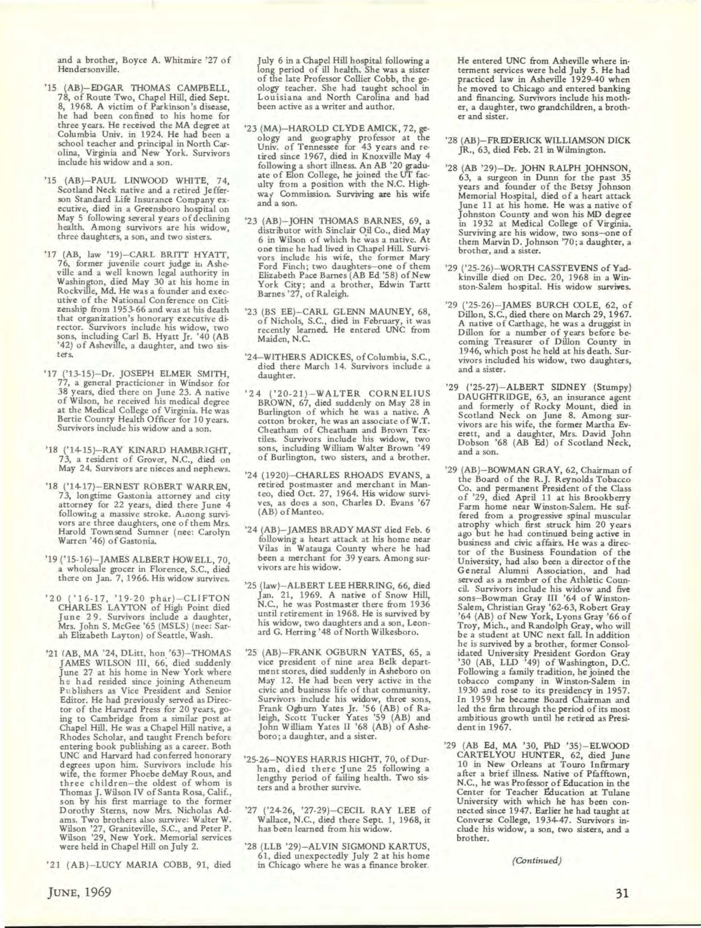 Carolina Alumni Review - June 1969 - page 32