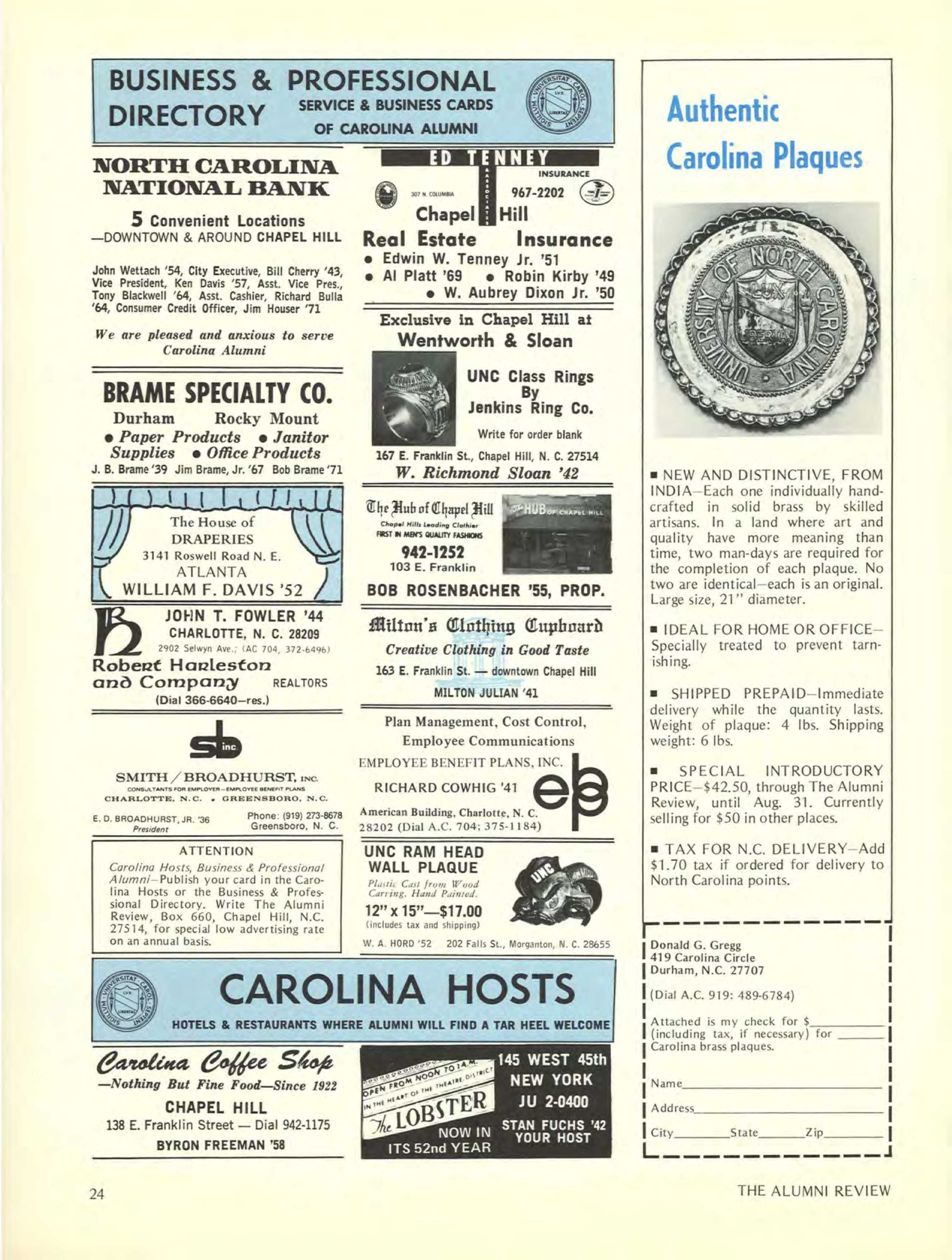 Carolina Alumni Review May 1972 Page C3 Freeman Apel 24