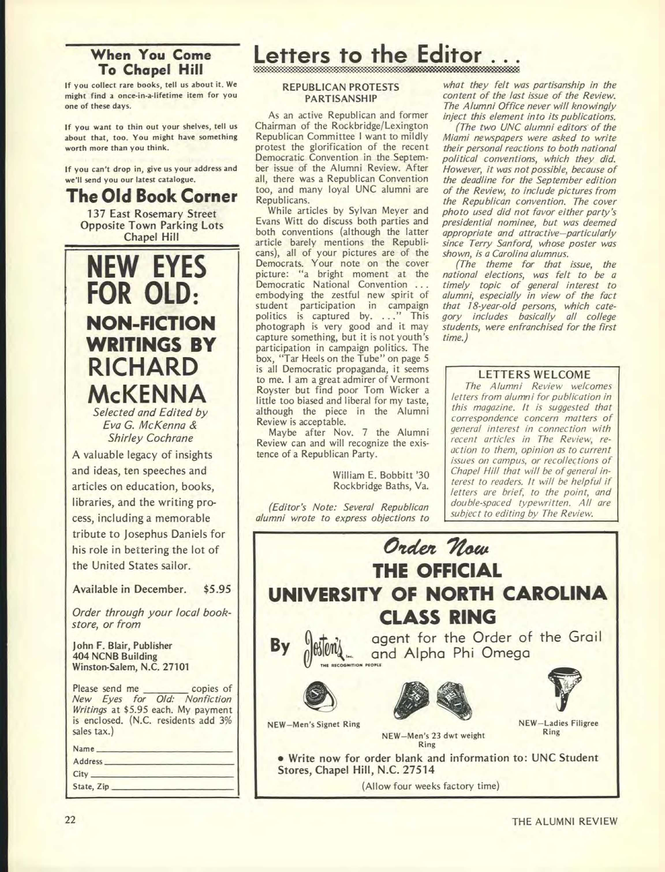Carolina Alumni Review - November 1972 - page 22