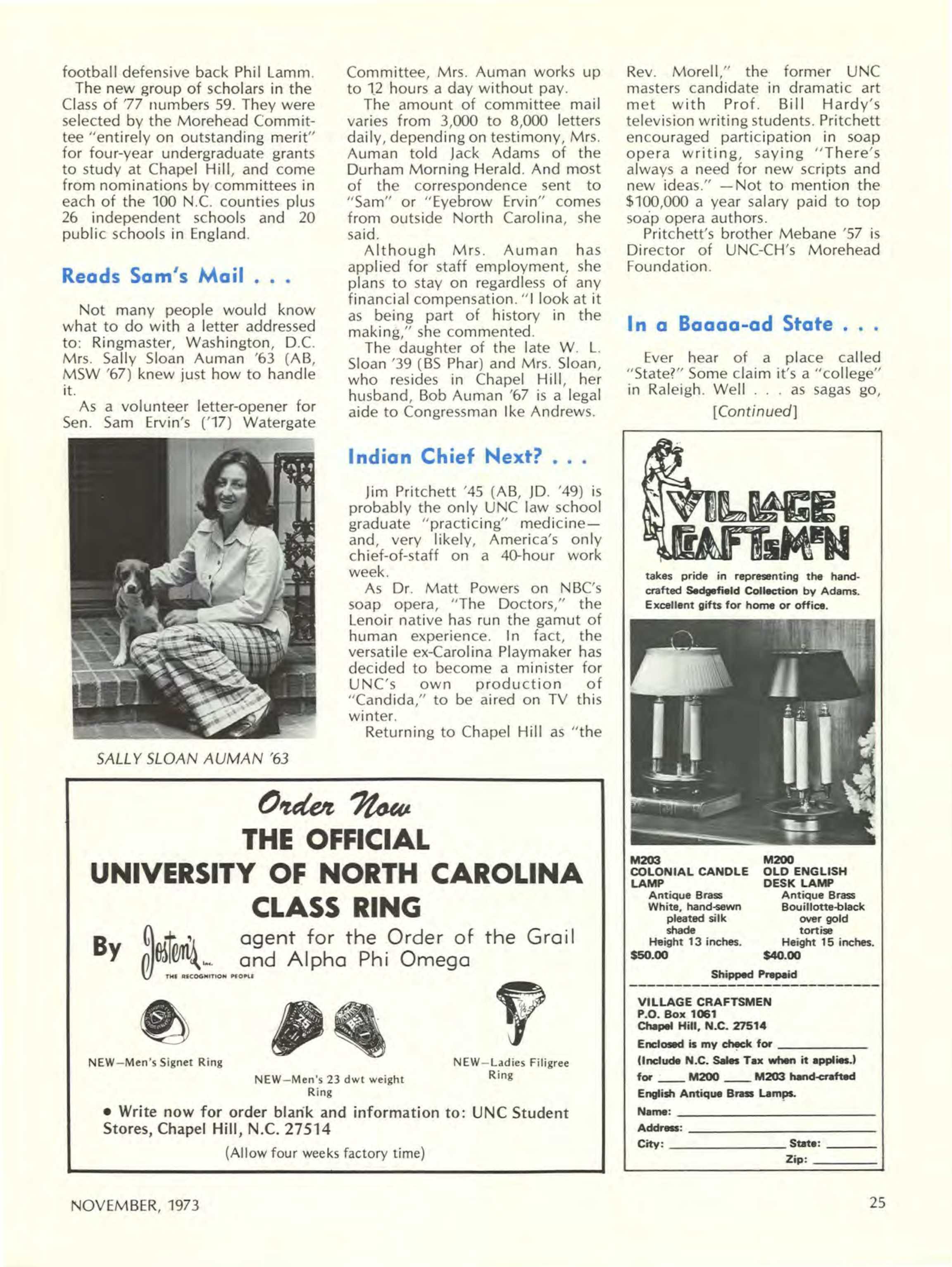 Carolina Alumni Review - November 1973 - page 25