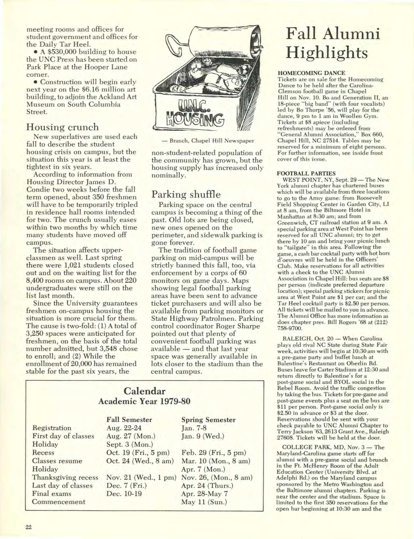 Unc Academic Calendar.Carolina Alumni Review September 1979 Page 22