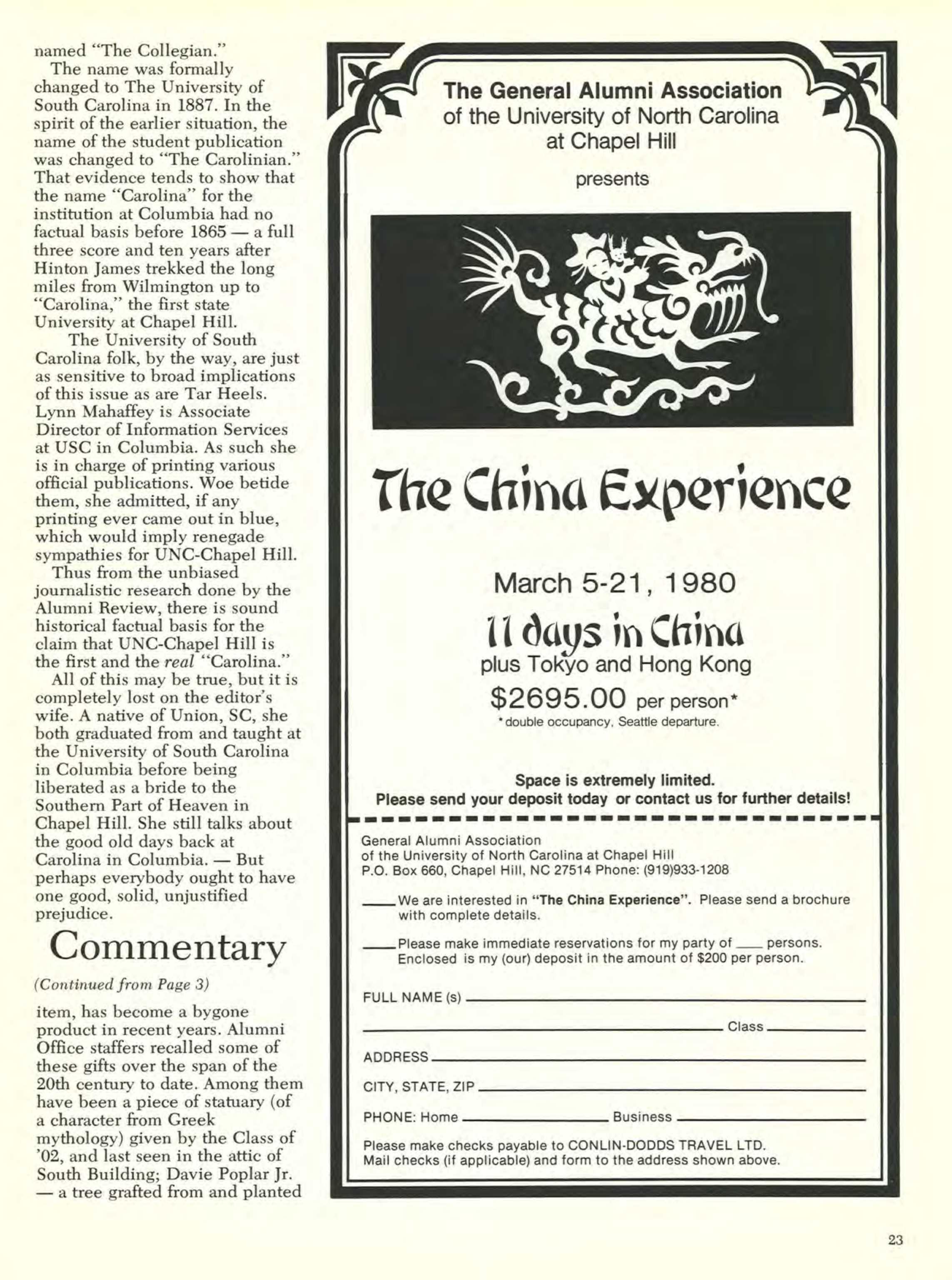 Carolina Alumni Review - January 1980 - page 23