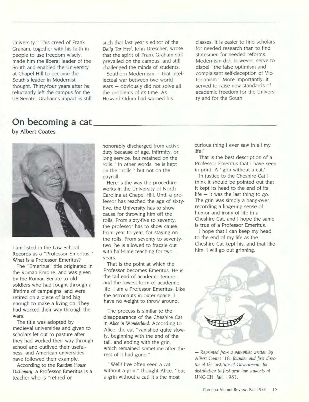Carolina Alumni Review - October 1983 - page 15