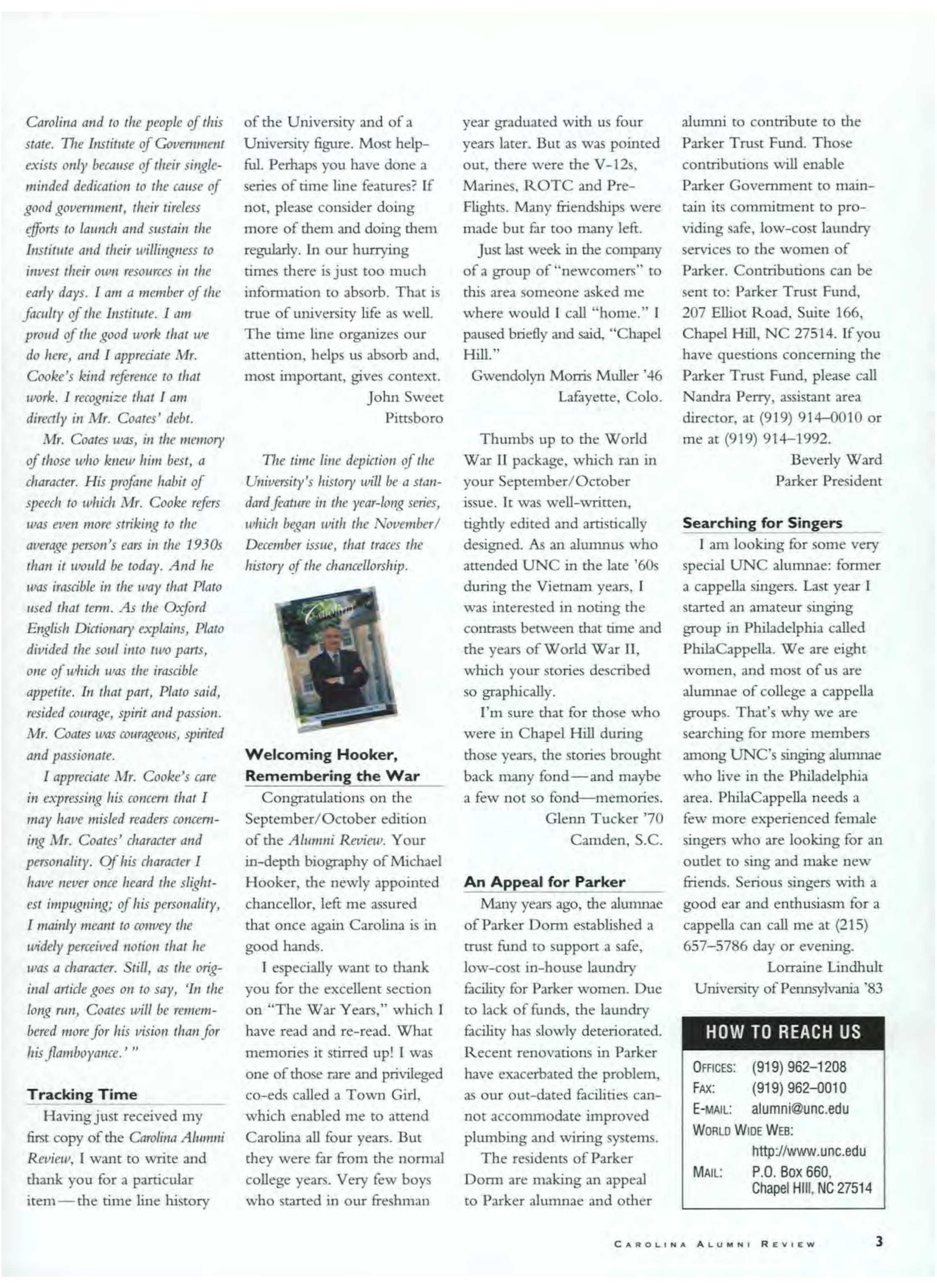Carolina Alumni Review - January/February 2000 - page 3