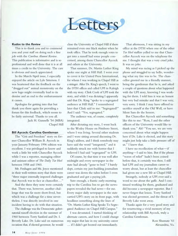 Carolina Alumni Review - May/June 1996 - page 14