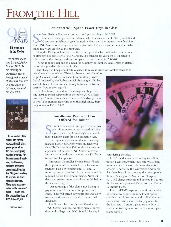 27d18ff52a Carolina Alumni Review - May/June 2002 - page 3