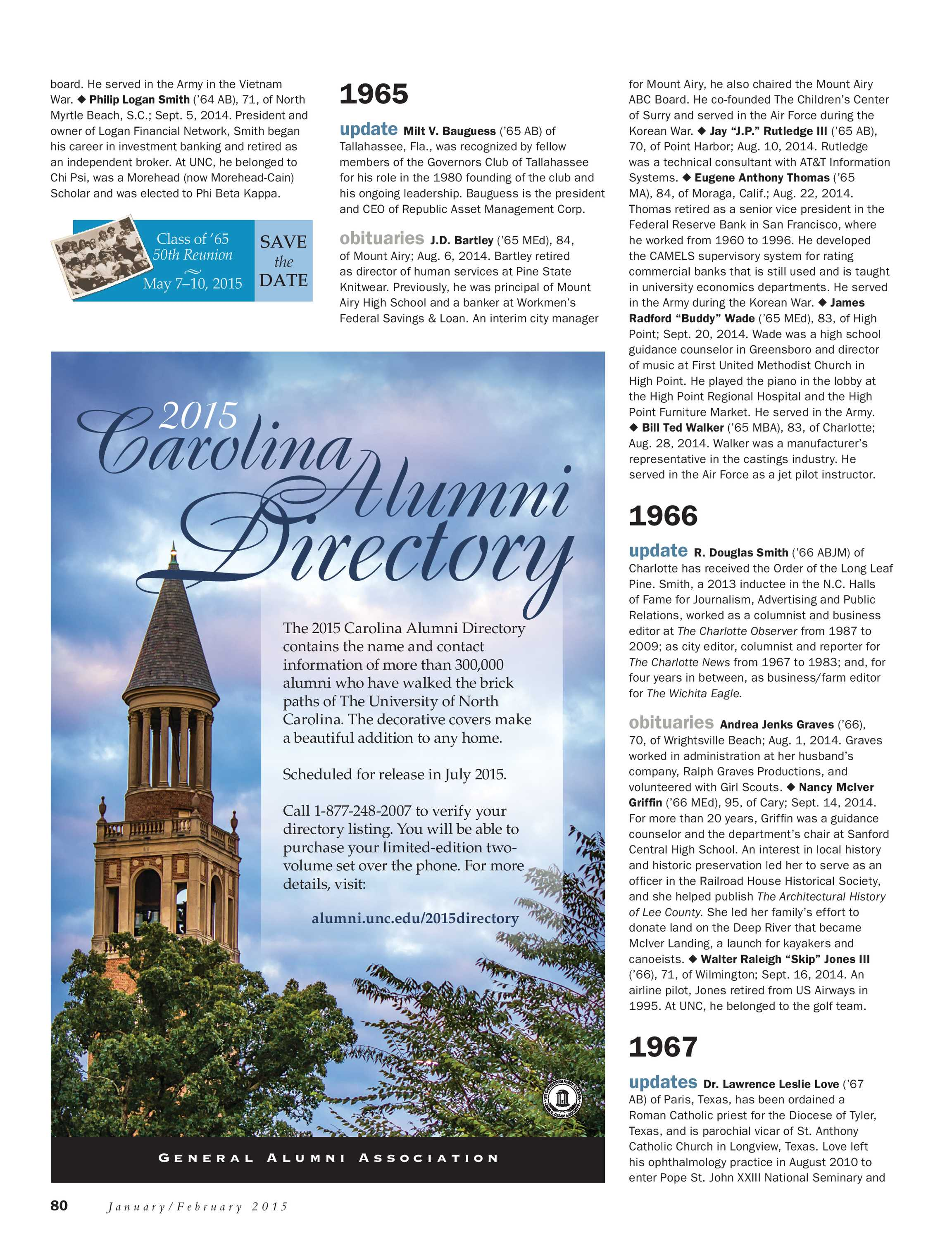 Carolina Alumni Review - January/February 2015 - page 66