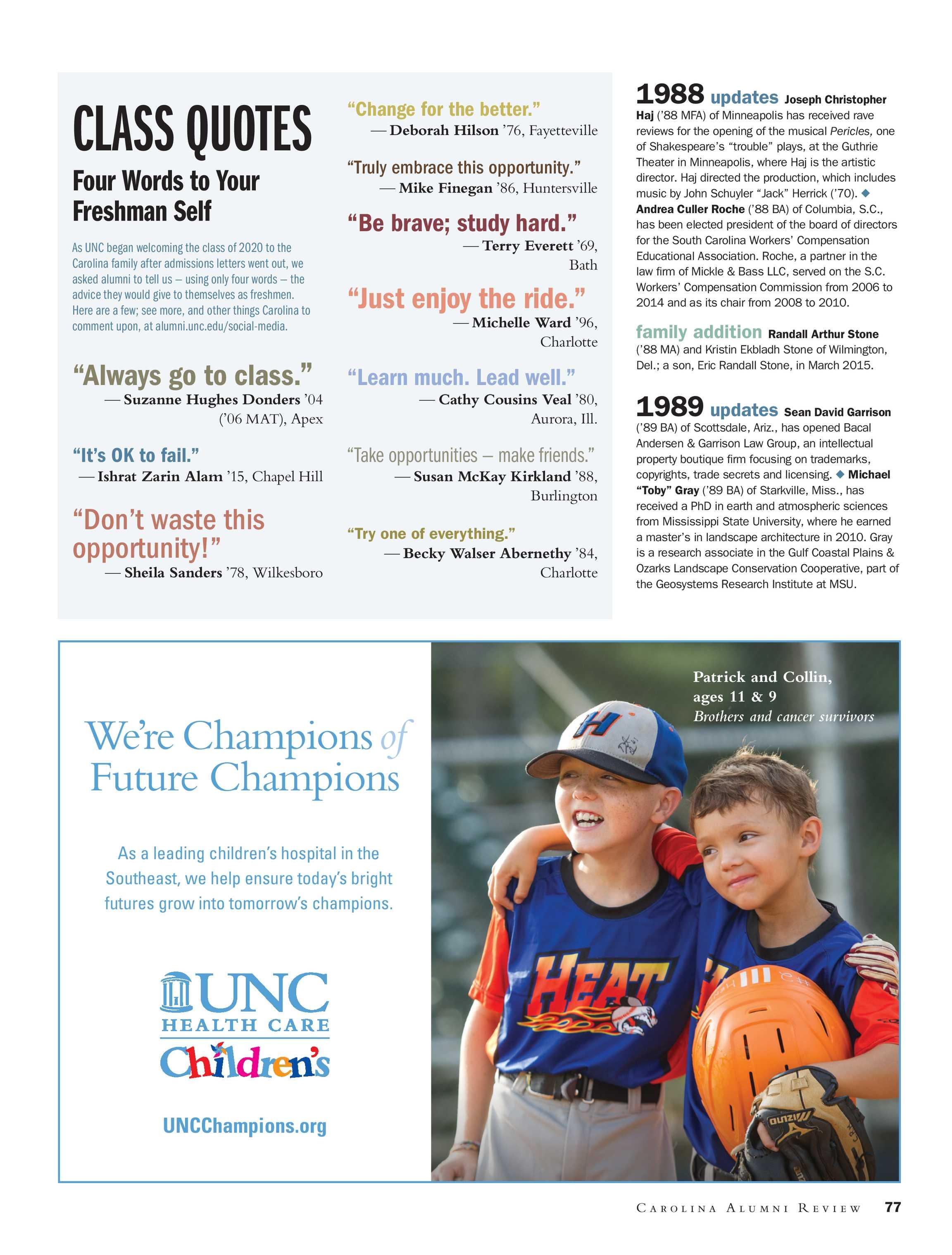 Carolina Alumni Review   May/June 2016   page 77