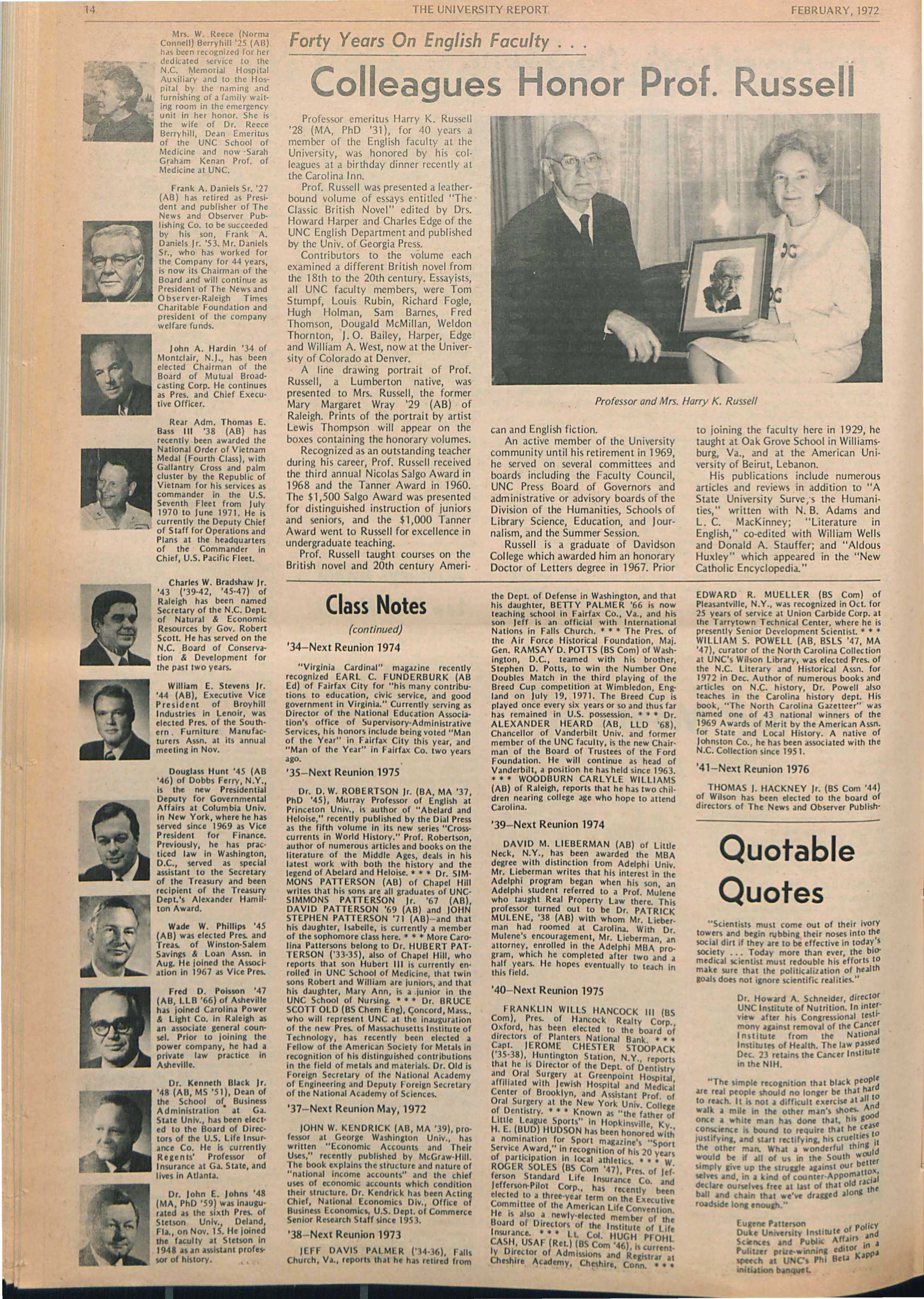 The University Report - February 1972 - page 14