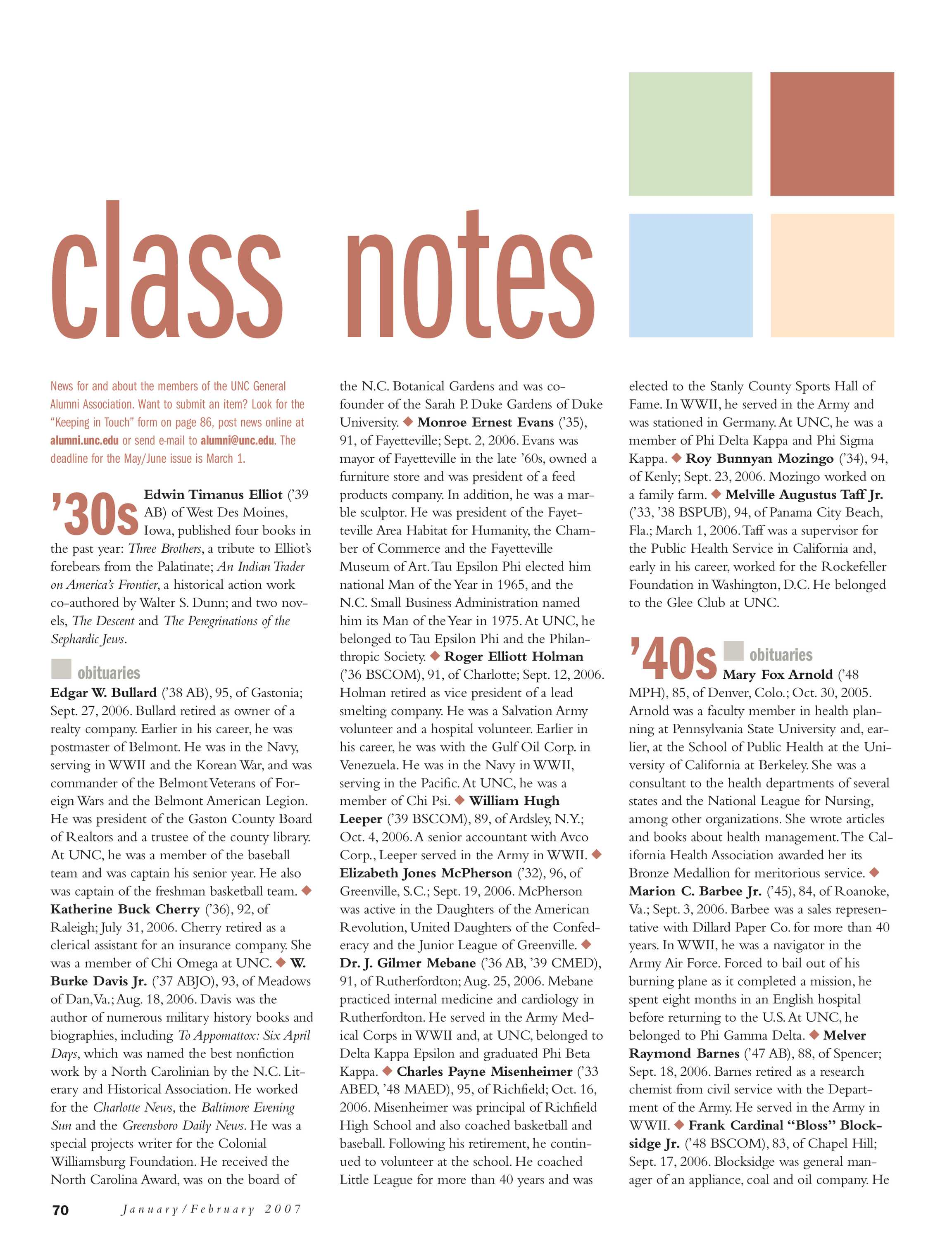 Carolina Alumni Review - January/February 2007 - page 70